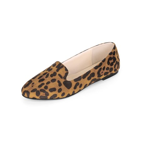(Women's Leopard Slip On Round Toe Loafers Flat Shoes Brown (Size 7.5))