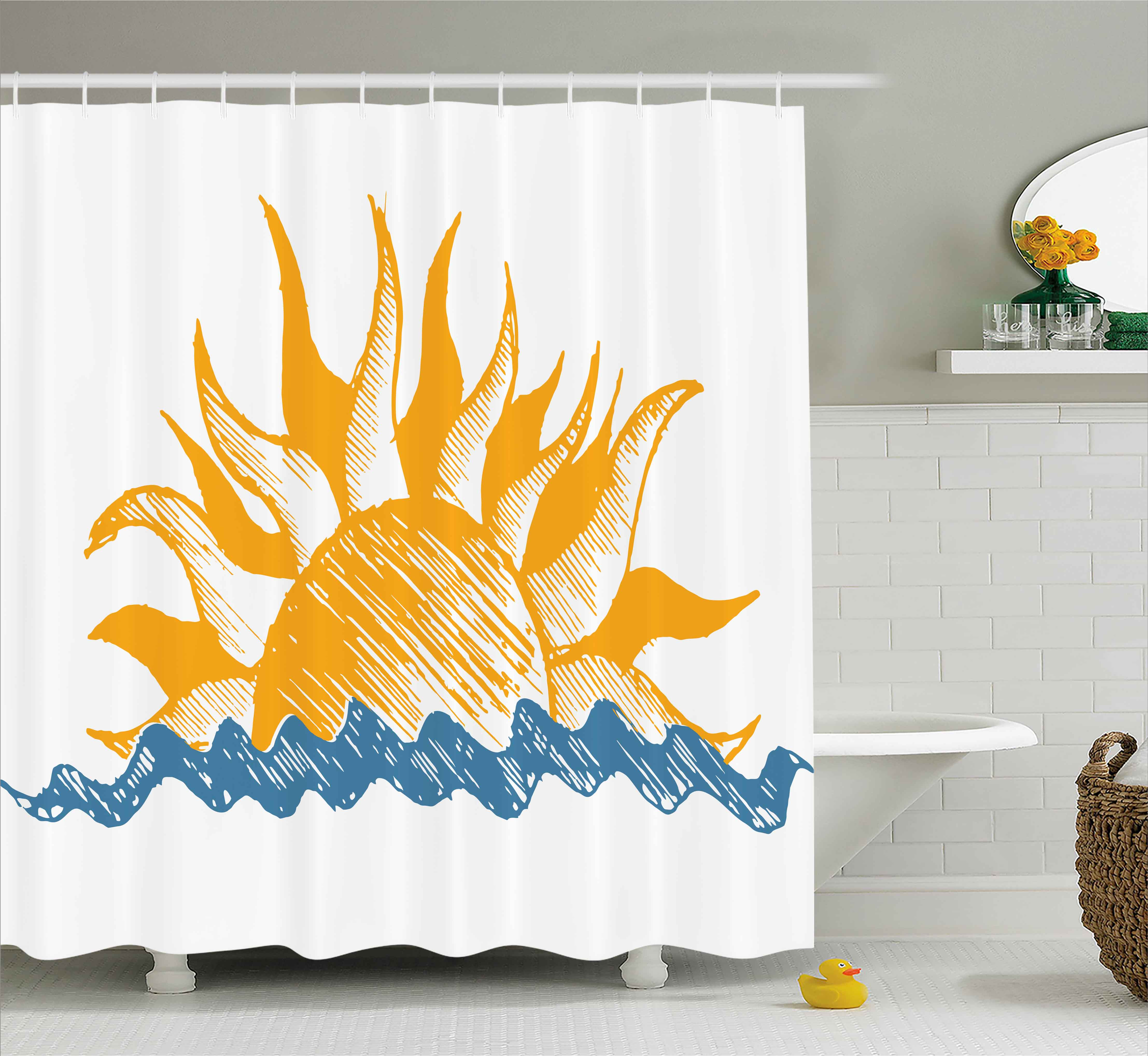 Modern Decor Shower Curtain, The Source of Life Sun with Fire like Beams and Wave like Clouds Image, Fabric Bathroom Set with Hooks, 69W X 70L Inches, Yellow and Blue, by Ambesonne