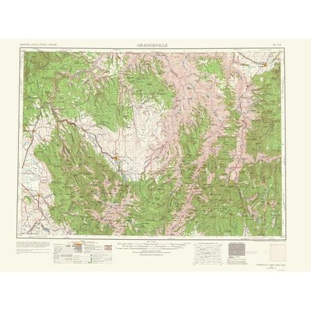 Topographical Map Grangeville Idaho Washington Oregon 1964 23