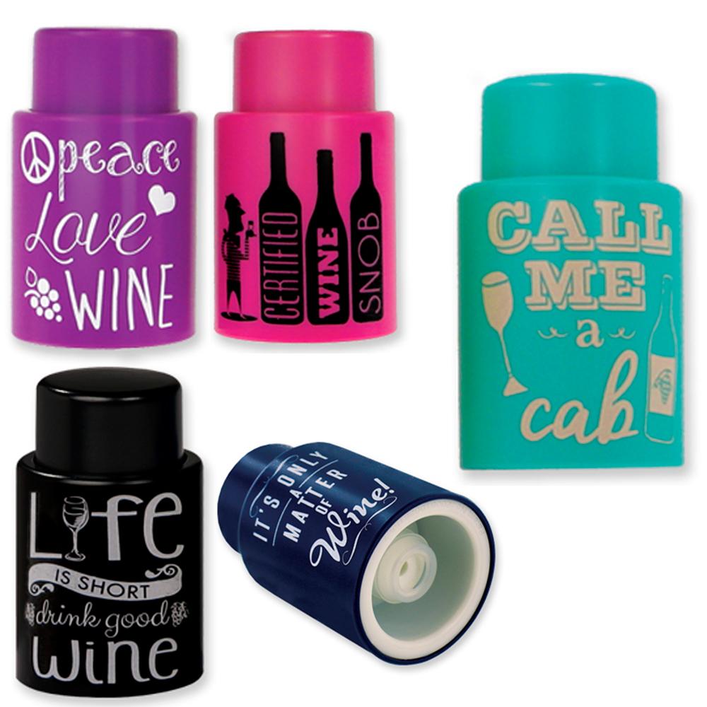 1 Ever Cork Vacuum Wine Stopper Sealer Plug Bottle Silicone Reusable Colors Gift