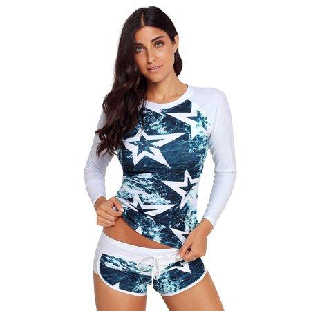 Women Star Surfing Swimwear Sport Two Piece Shorts Swimsuit
