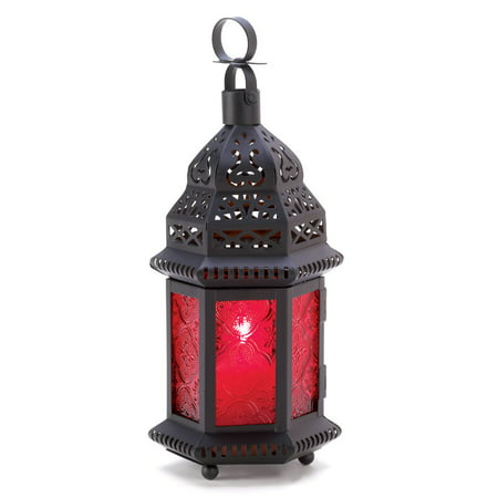 Moroccan Lantern Table, Red Glass Decorative Lanterns For Candles - Metal ()