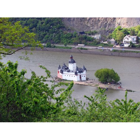 Peel-n-Stick Poster of Rhine Water Castle River Kaub Island Poster 24x16 Adhesive Sticker Poster Print