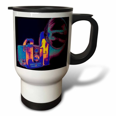 3dRose Picture of a Vintage rainbow 1950s camera with bulb flash, Travel Mug, 14oz, Stainless Steel