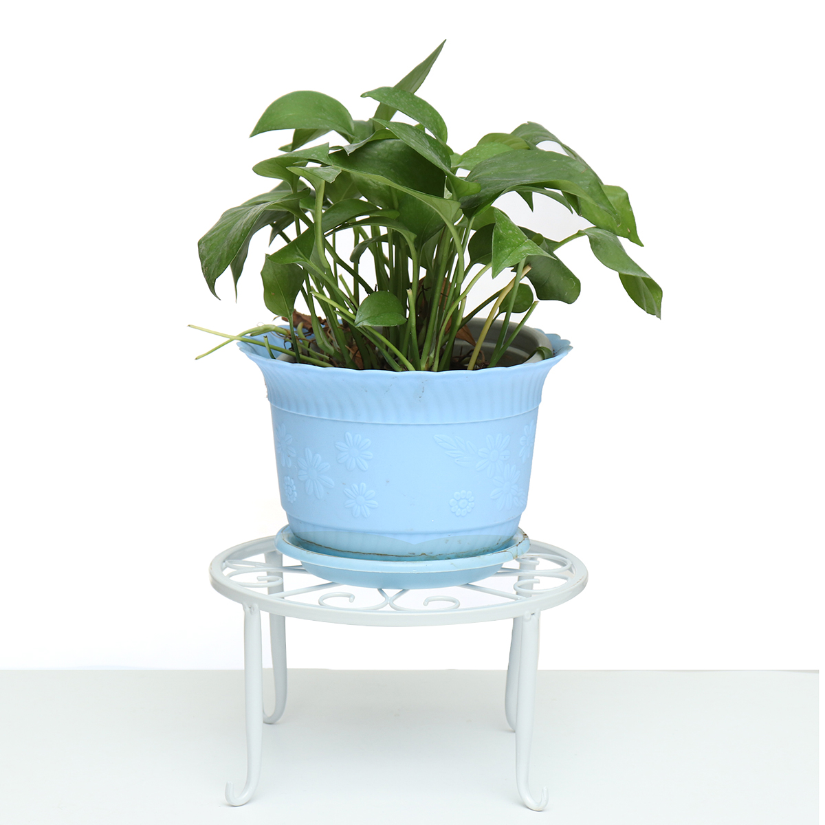 Wrought Iron Pot Plant Stand Flower Shelf Indoor Outdoor Garden Decor 24*24*13cm