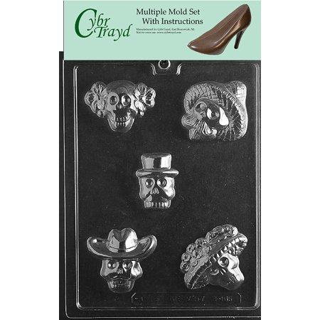 Day of the Dead Halloween Chocolate Candy Mold with Exclusive Cybrtrayd Copyrighted Molding Instructions, Pack of 3 (Halloween Food Molds)