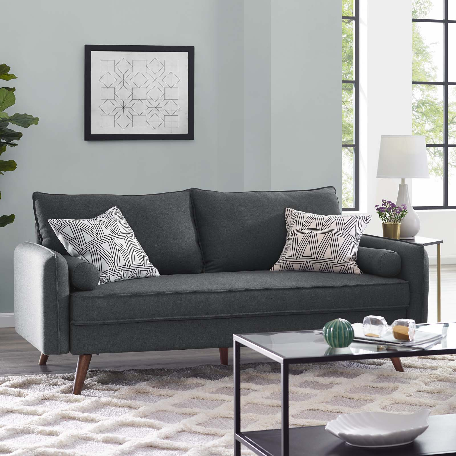 Modway Revive Fabric Upholstered Sofa, Multiple Colors
