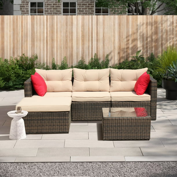 Outdoor Deck Furniture, 5 Piece Outdoor Conversation Sets with