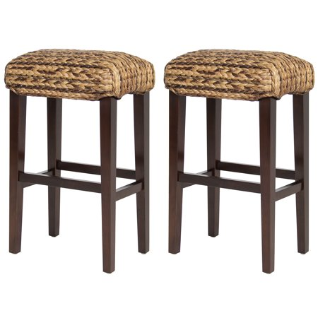 BCP Set of (2) Hand Woven Seagrass Bar Stools Mahogany Wood Frame Bar Height