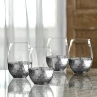 Better Homes & Gardens Silver Honeycomb Finish Stemless Glass