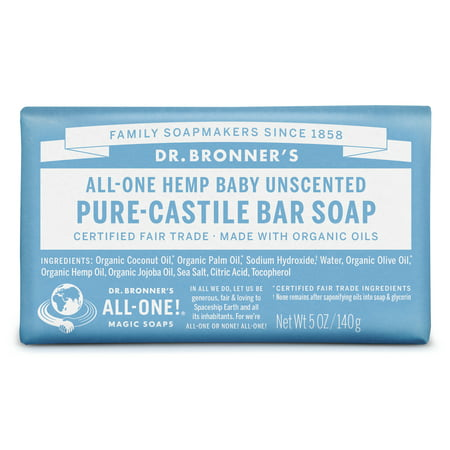 (3 pack) Dr. Bronner's Baby-Unscented Bar (Best Dr Bronners Castile Soaps)