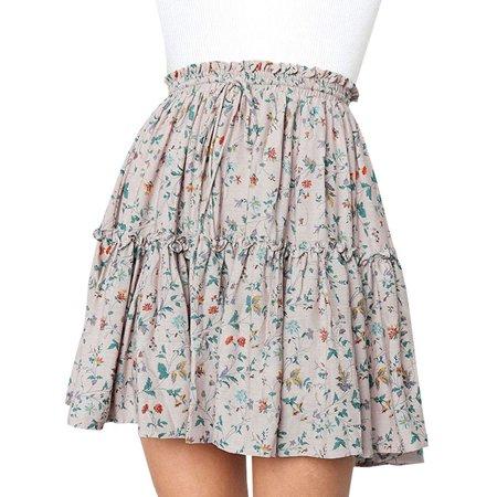 711ONLINESTORE Women Elastic Waist Floral Print Pleated Ruffle Mini Skirts (Floral Print Mini Skirt)