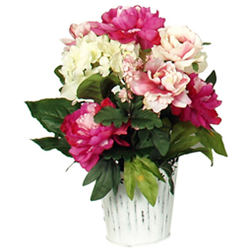 Cream Peony Arrangement in White Punched Tin Container