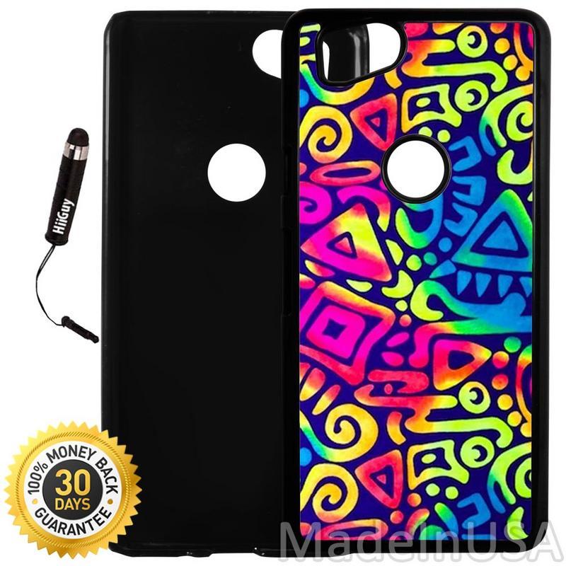 Custom Google Pixel 2 Case (Aztec Rainbow) Plastic Black Cover Ultra Slim | Lightweight | Includes Stylus Pen by Innosub