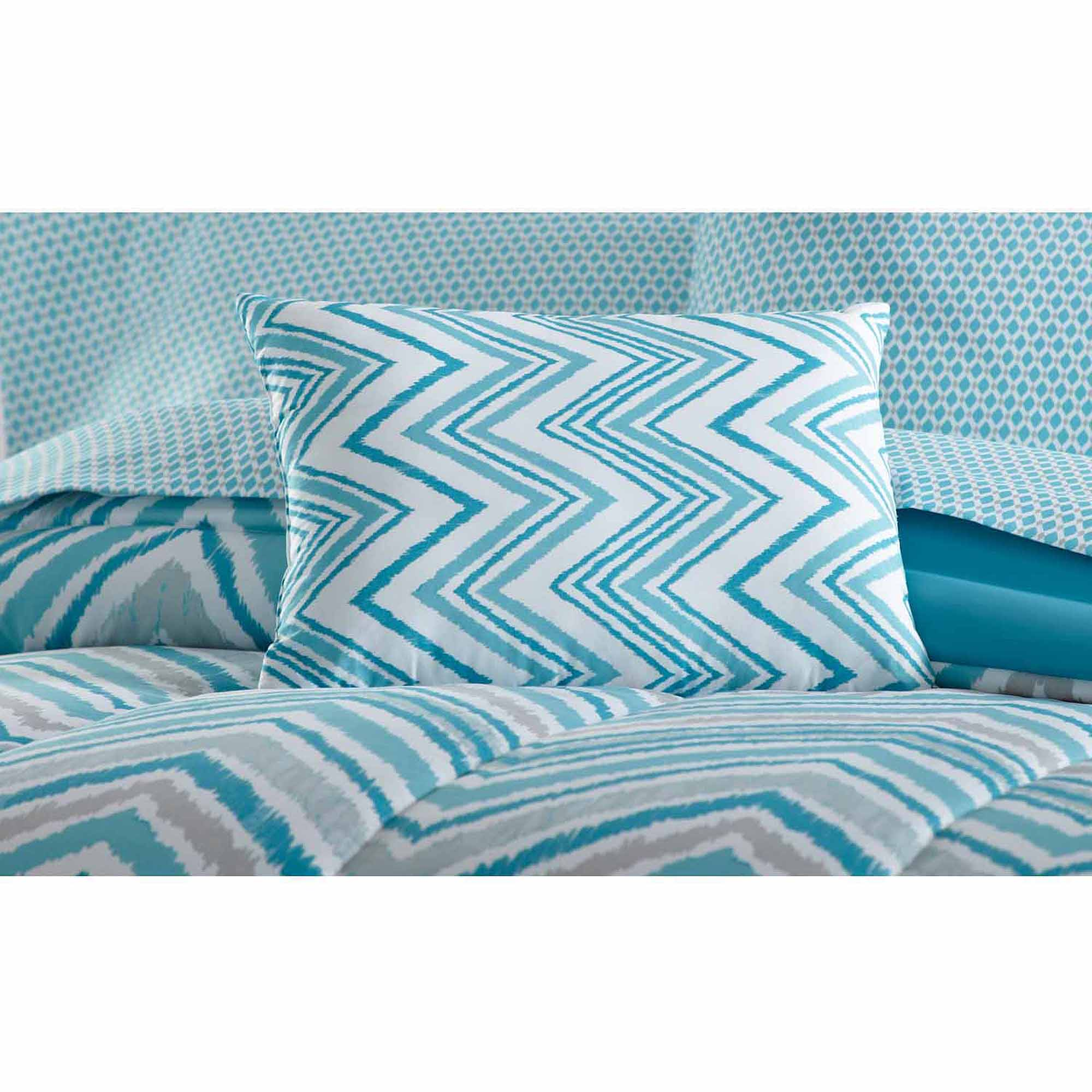 mainstays watercolor chevron bed in a bag coordinated bedding set
