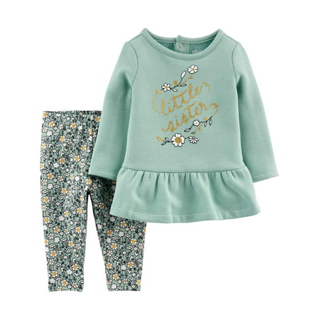 Child of Mine by Carter's Toddler Girl Long Sleeve Fleece Ruffle Hem Top & Pants, 2 pc Outfit set ()