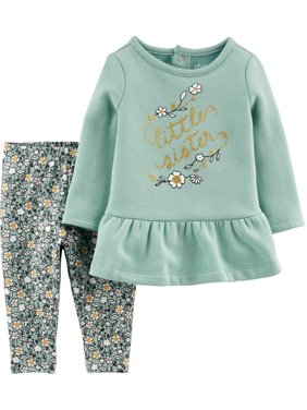 Child of Mine by Carter's Toddler Girl Long Sleeve Fleece Ruffle Hem Top & Pants, 2 pc Outfit set