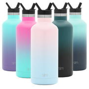 Simple Modern 32oz Ascent Water Bottle With Straw Lid - Stainless Steel Hydro Tumbler Flask - Double Wall Vacuum Insulated Small Reusable Metal Leakproof Ombre: Sweet Taffy