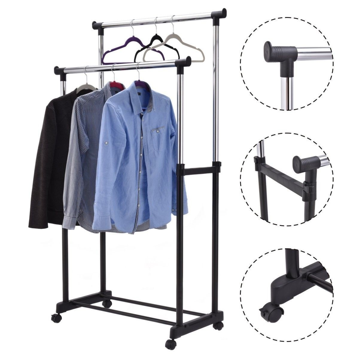 Double Rail Adjustable Garment Rack Rolling Clothes Hanger Heavy Duty Portable