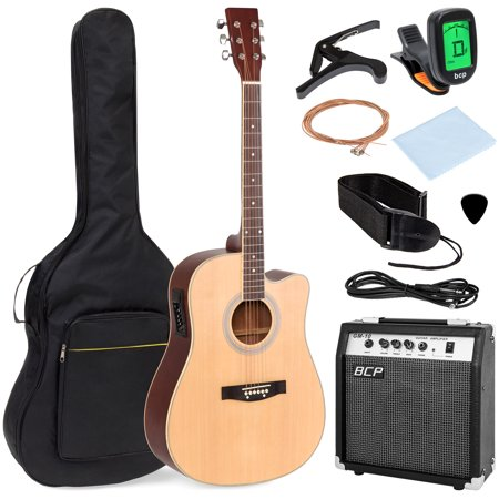 best choice products 41in full size all wood acoustic electric cutaway guitar musical instrument. Black Bedroom Furniture Sets. Home Design Ideas