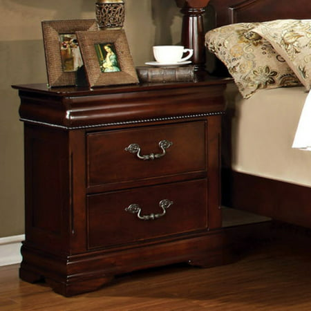 Furniture of America Grand Central 2 Drawer Nightstand - Cherry ()