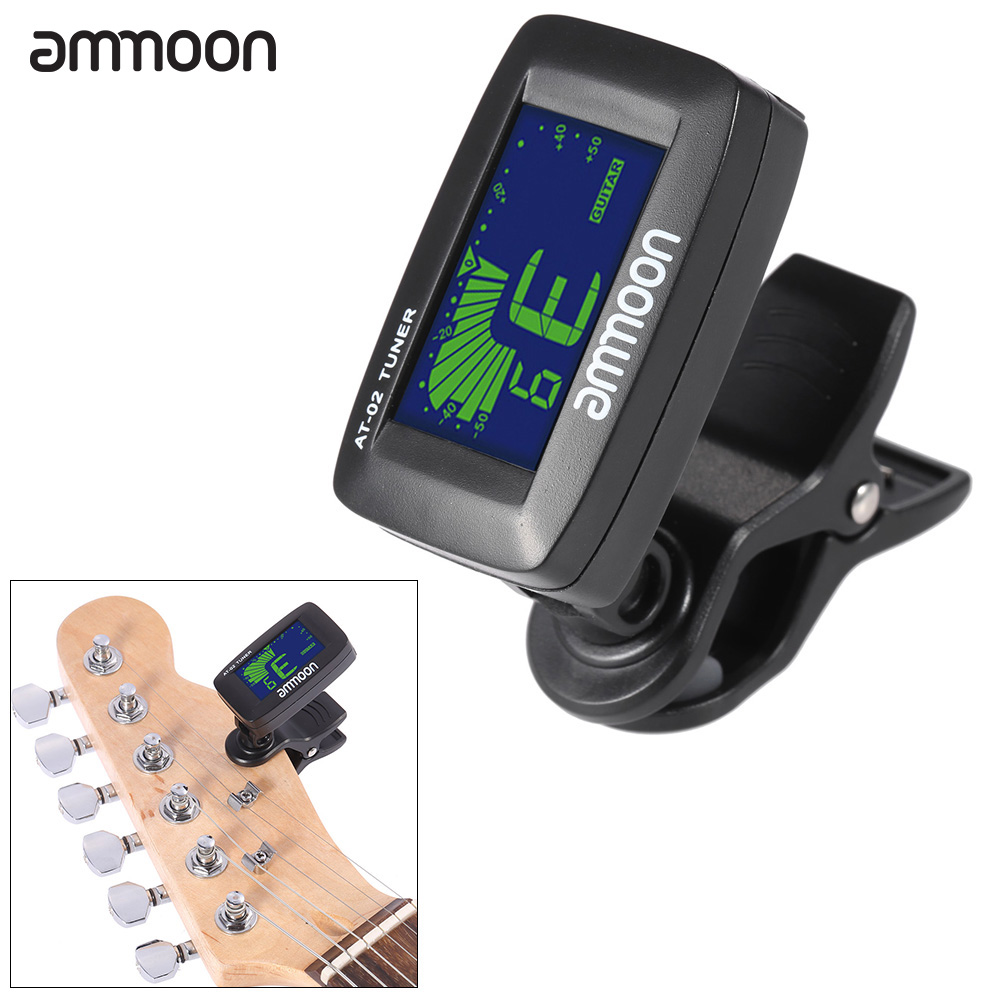 ammoon AT-02 Electric Tuner Clip-on Three Colors Backlit Screen for Guitar Chromatic Bass... by