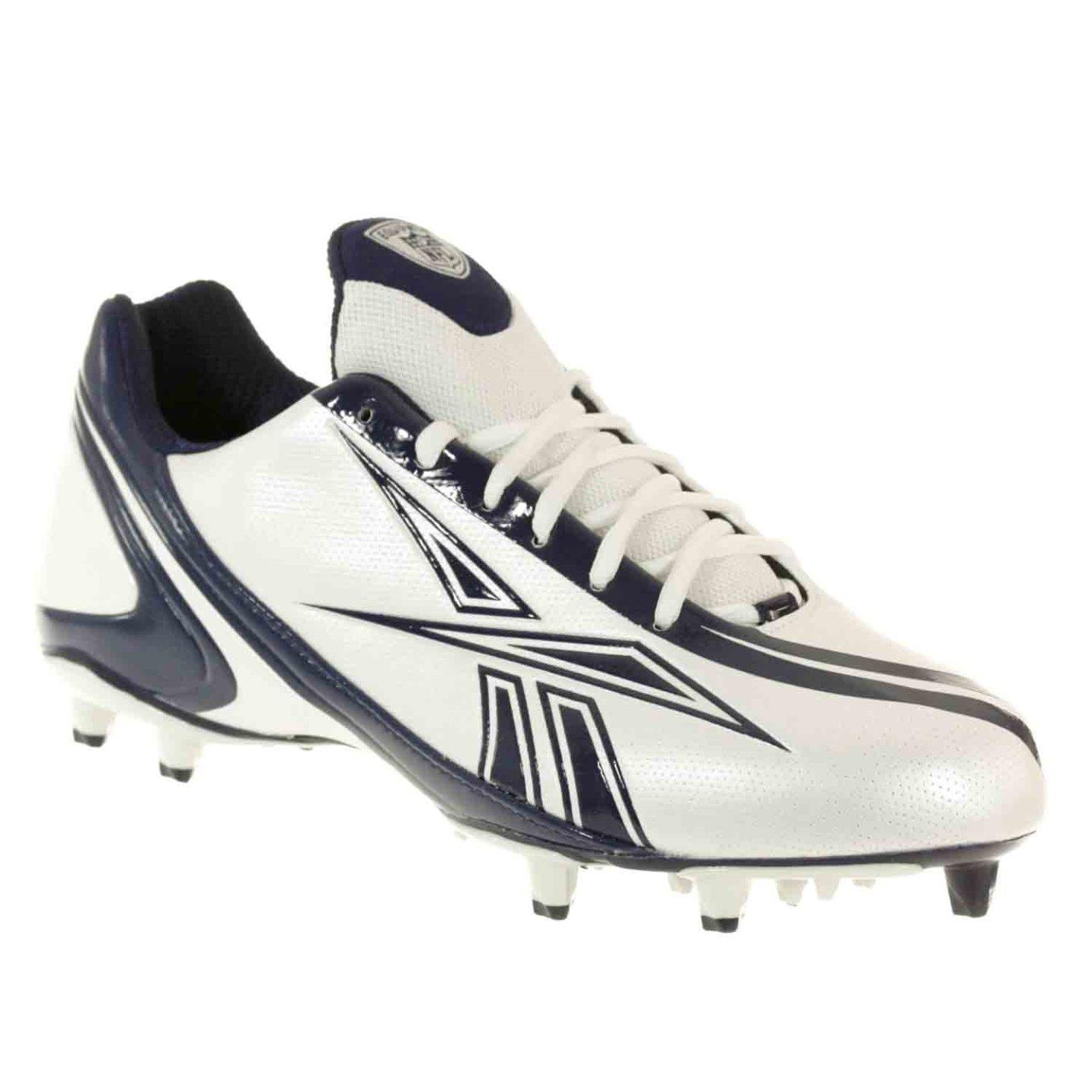 REEBOK MEN'S NFL BURNER SPEED LOW M3 WHITE ROYAL MOLDED FOOTBALL CLEATS 7.5 M