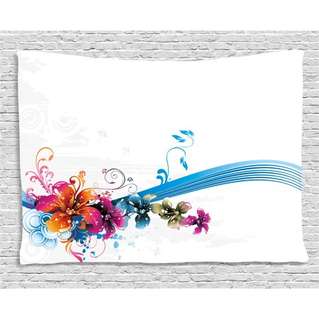 - Floral Tapestry, Abstract Fantasy Blossoms Border Colorful and Grunge Display Spring Leaves Swirls, Wall Hanging for Bedroom Living Room Dorm Decor, 80W X 60L Inches, Multicolor, by Ambesonne