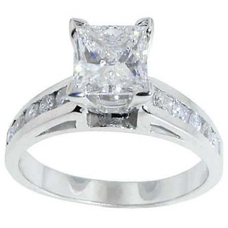 - Harry Chad HC11932 1.75 CT Diamond Princess Cut Antique Look Solitaire Engagement Ring Gold - Color F - VS1 & VVS1 Clarity