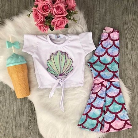 2PCS Toddler Kids Baby Girl Summer Clothes Mermaid Tops T-Shirt  Flared Pants Leggings Outfits Set