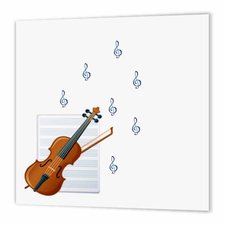 3dRose Violin Playing Music - Notes - Musical Art - Instruments, Iron On Heat Transfer, 8 by 8-inch, For White Material Border Art Transfer