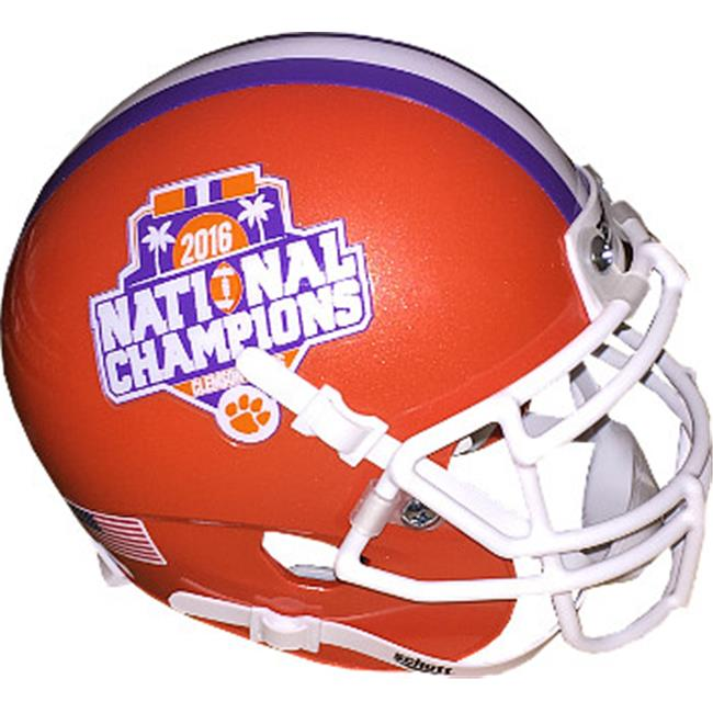 Athlon CTBL-019391 Clemson Tigers Unsigned Schutt Authentic Mini Helmet - 2016 National Champions Logo on Sides