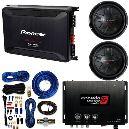Pioneer 12- Inch. 1400 Watt Dual Voice Coil DVC Subwoofer W/ 2,400-Watt Class D Mono Amp CERWIN VEGA Bass Maximizer Processor Amplifier + 4 Gauge Kit