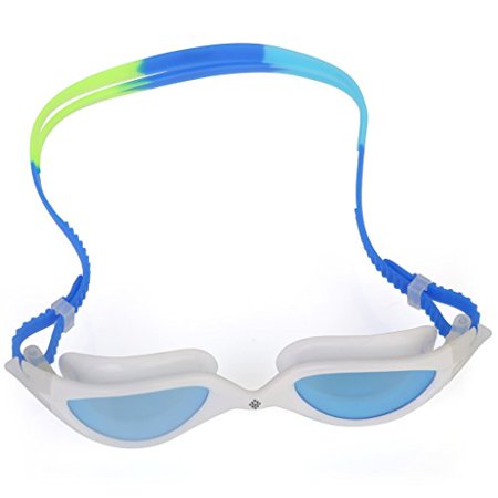 Goggles - Swimming Goggles - Water sport Racing Goggles - UV Protection, Anty-Fog, Quick Adjusting Silicone Head Strap - Blue/Green