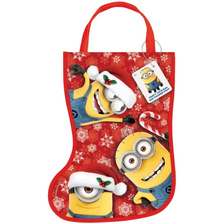 Despicable Me Minions Christmas Stocking Goodie Bag, 13 x 9.5 in, 1ct (Halloween Goodie Bag Ideas For Babies)