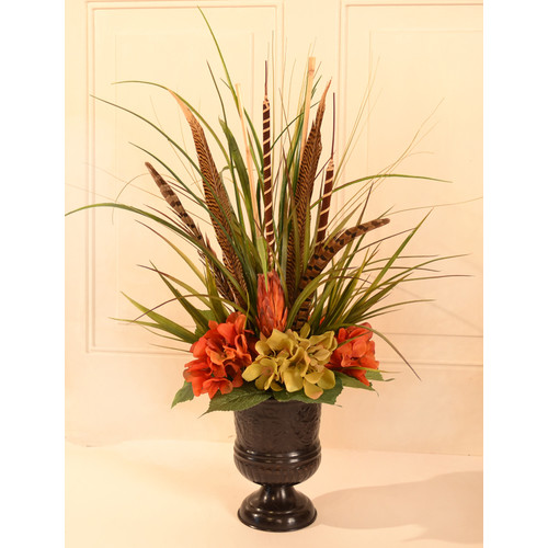 Floral Home Decor Grass and Feather Mantel Arrangement
