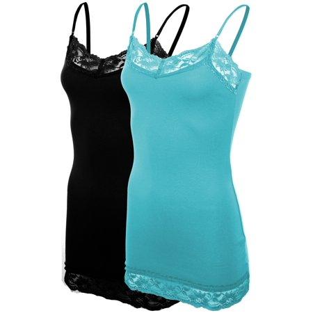 Women's Classic Casual Lace Trim Base Layer Camisole Spaghetti Strap Tank 2 Pack : Black | Aqua - Black Spaghetti Halloween