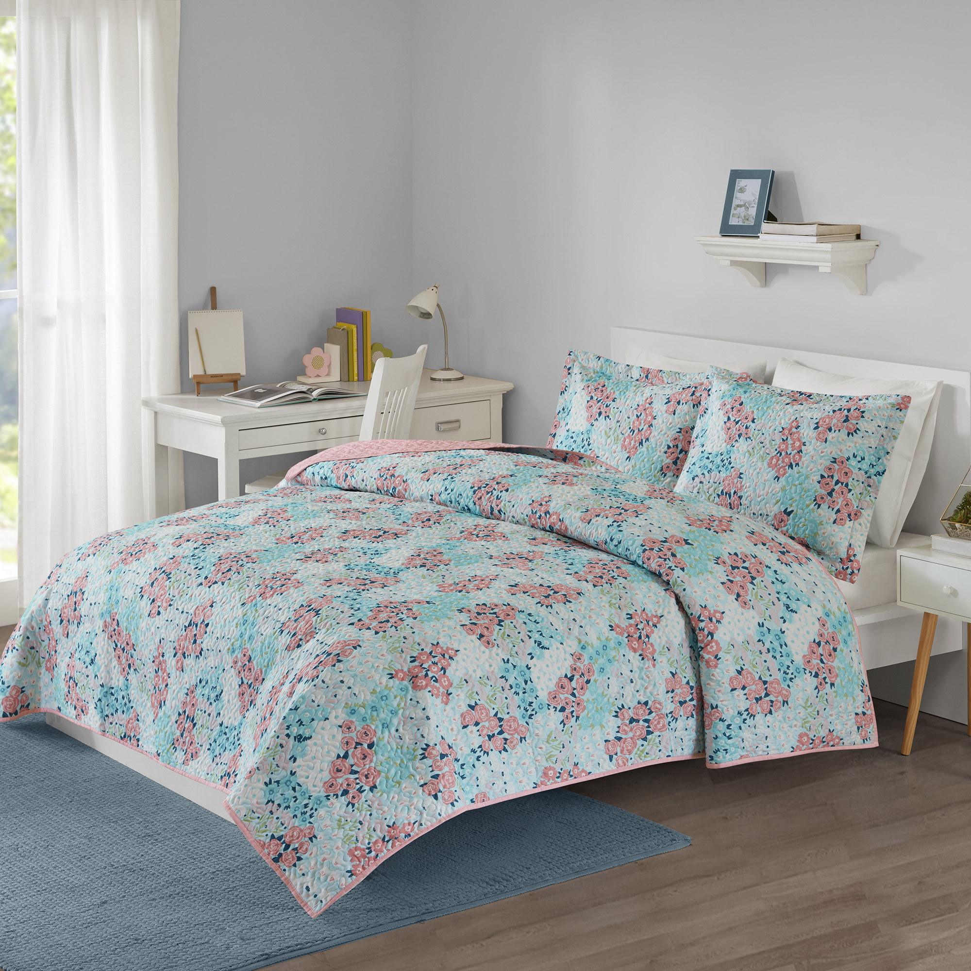 Your Zone Printed Teal Floral Mini Quilt and Sham Set