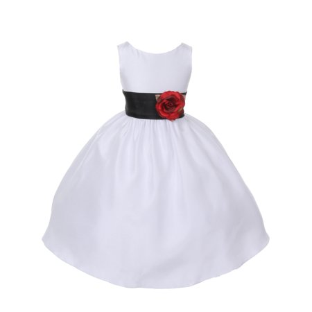 Dempsey Marie Poly Silk Flower Girl Dress with Colorful Sash
