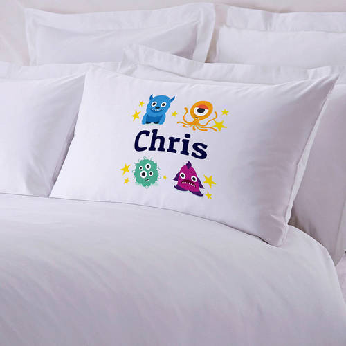 Personalized Kid's Little Monsters Pillow Case