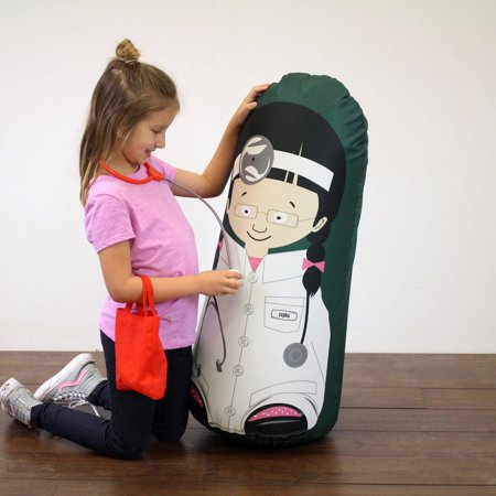Kid Tough Fitness Inflatable Free-Standing Punching Bag + Machine Washable Fabric Cover Doctor Sophia Kids Workout Buddy by Bonk Fit