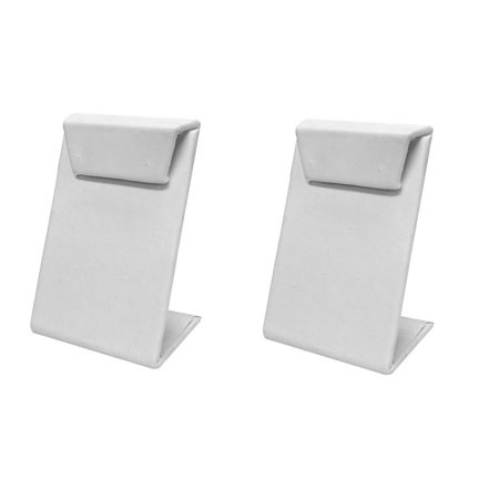 2 Pc 2-1/2''W x 3-1/2''H White Faux Leather Earring Display Stand Jewelry Retail Fixture Displaying Earrings - Faux Leather Earring Display Stand