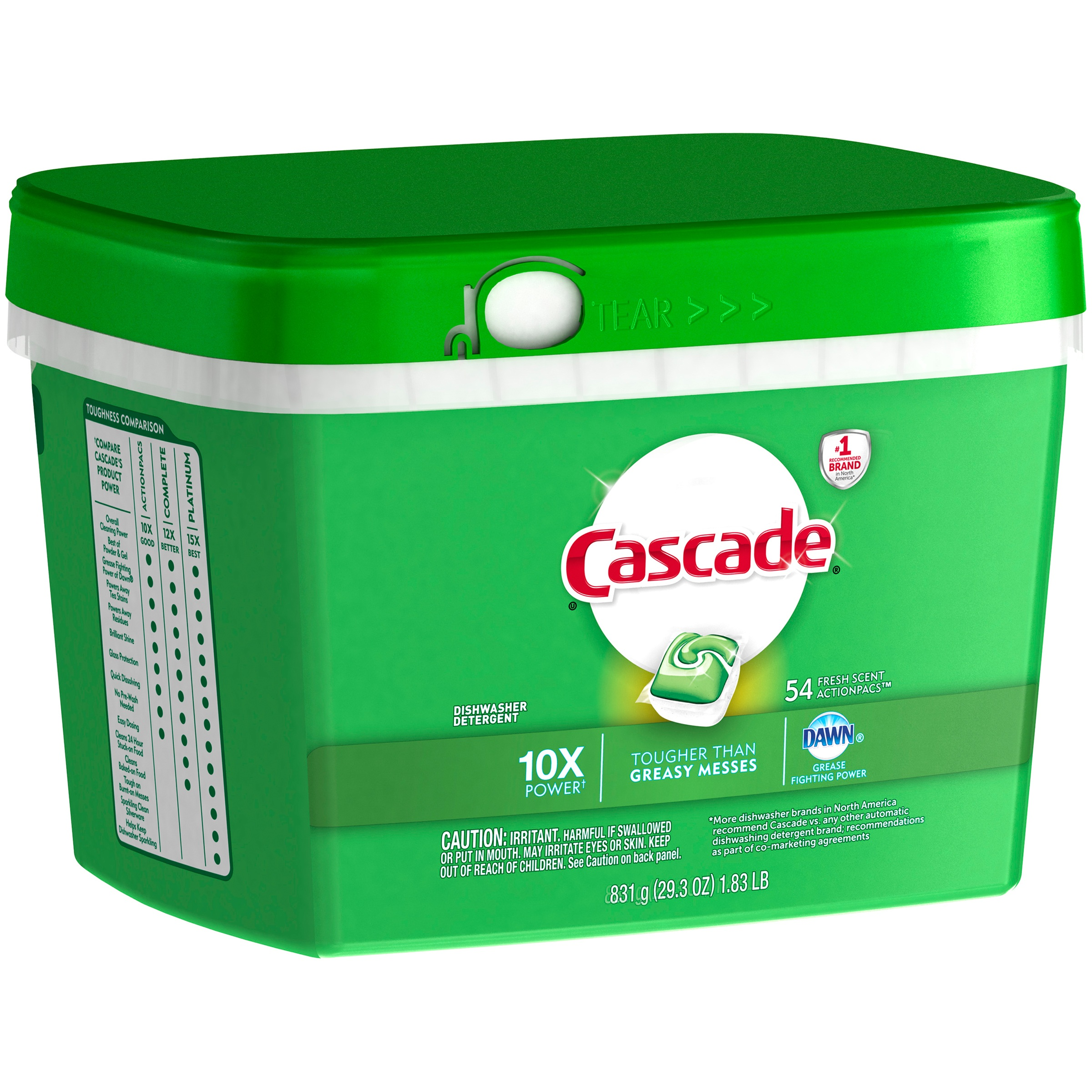 Cascade ActionPacs Fresh Scent Dishwasher Detergent, 54 Count