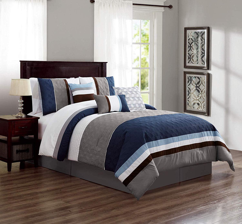 Hgmart Bedding Comforter Set Bed In A Bag 7 Piece Luxury Striped Microfiber Bedding Sets Oversized Bedroom Comforters Cal King Size Blue Walmart Com Walmart Com