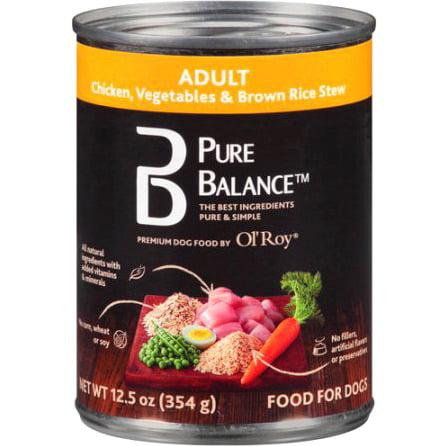 Pure Balance poulet, légumes et riz brun Ragoût adulte Boîtes pour chien, 12,5 oz