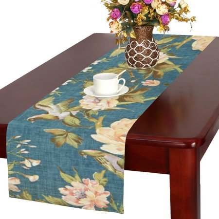 MYPOP Retro Pattern with Colorful Flowers and Birds Cotton Linen Table Runner 16x72 -