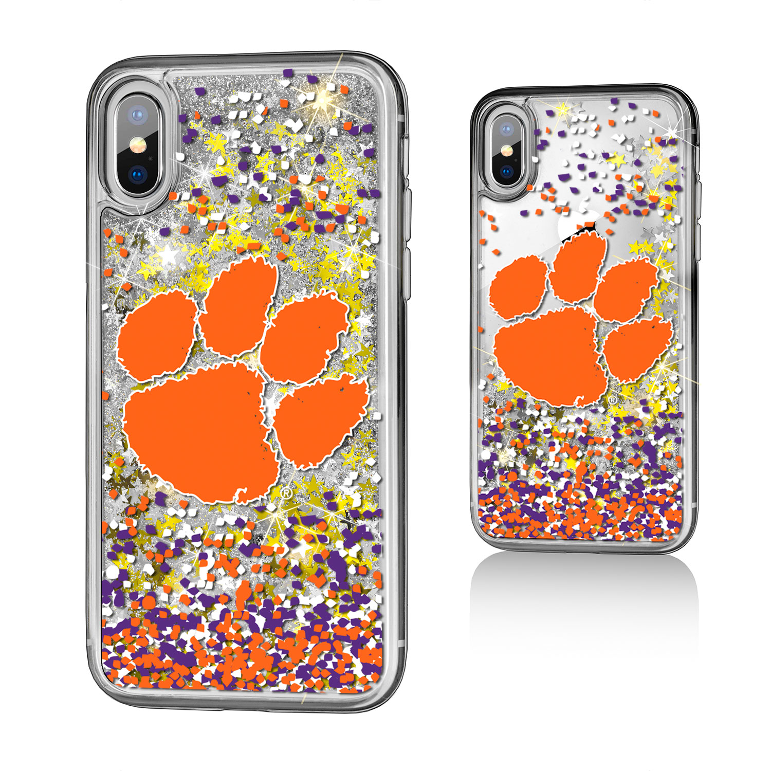 CU Clemson Tigers Confetti Glitter Case for iPhone X