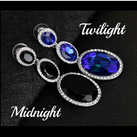 ON SALE - Evening Elegance Triple Crystal Drop Earrings - Two Colors To Choose Midnight Black