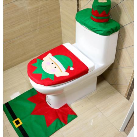 3pcs Set Christmas Ornament Toilet Warm Pad Water Tank Lid Cover Set