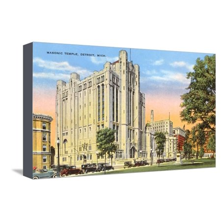 Temple Bar Detroit Halloween (Masonic Temple, Detroit, Michigan Stretched Canvas Print Wall)